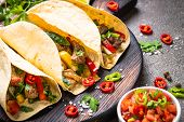 Tacos Food. Mexican Pork Tacos With Vegetables And Salsa. Traditional Latin American Food. poster