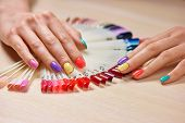 Female Manicured Hands, Nails Samples. Female Hands With Beautiful Summer Manicure On Salon Table Wi poster