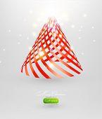 Kerstboom van rood lint vector achtergrond. EPS-10.