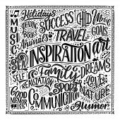 Poster With Different Type Of Inspirations. Inspirational Words. Hand Drawn Vintage Illustration Wit poster