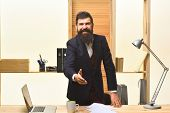 Successful Businessman Welcoming. Handshaking. Portrait Of Bearded Businessman. Smiled Businessman I poster