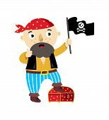 Pirate Character With Jolly Roger Flag Icon. Children Drawing Of Pirate Concept Illustration Isolate poster