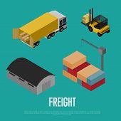 Freight Shipment Isometric Banner Illustration. Forklift Loading Freight Truck, Warehouse Building,  poster