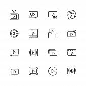 Video Content Icons. Set Of  Line Icons. Player, Screen, Tv. Video Content Concept. Vector Illustrat poster
