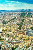 Panorama Of Paris With A View Of The Eiffel Tower. poster