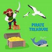 Pirate Treasure Vector Adventure Sea Nautical Symbols Nautical Character Captain Sailor With Sword I poster