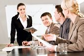 image of business meetings  - Portrait of business people discussing a new strategy at a seminar - JPG