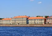 University embankment on Vasilevsky Island. Russia