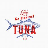 Fishing Tuna. Abstract Vector Sign, Symbol Or Logo Template. Hand Drawn Tuna Fish And Fishing Rods W poster