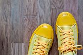 One Pair Of Yellow Fashionable Footwear In Sports Style Closeup On An Abstract Background Of An Empt poster