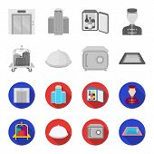 Trolley With Luggage, Safe, Swimming Pool, Clutch.hotel Set Collection Icons In Monochrome, Flat Sty poster