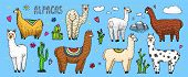 Set Of Cute Alpaca Llamas Or Wild Guanaco On The Background Of Cactus And Mountain. Funny Smiling An poster