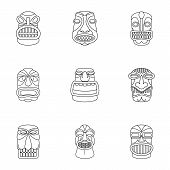 African Culture Icons Set. Outline Set Of 9 African Culture Vector Icons For Web Isolated On White B poster