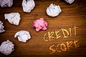 Words Writing Texts Credit Score. Business Concept For Capacity To Repay A Loan Creditworthiness Of  poster