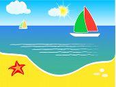 Beach and yacht on sea, summer