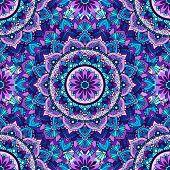Seamless Pattern Of Mandala Purple.seamless Pattern Of Mandala Purple. For Design Backgrounds. poster