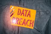 Word Writing Text Data Breach. Business Concept For Incident In Which Sensitive Or Confidential Data poster