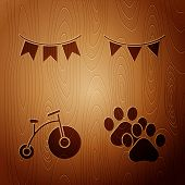 Set Paw Print, Carnival Garland With Flags, Vintage Bicycle With One Big Wheel And One Small And Car poster