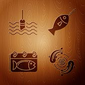 Set Fish, Fishing Float In Water, Calendar With A Fish And Fish On Hook On Wooden Background. Vector poster