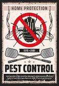 Fly Insects Pest Control Service, Domestic Bugs And Moths Extermination And Home Disinsection Vintag poster