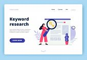 Cute Landing Page Template On Search Engine Optimization Theme. Girl With Magnifying Glass Searching poster
