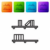 Black Line Shelf With Books Icon Isolated On White Background. Shelves Sign. Set Icons In Color Squa poster