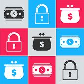 Set Stacks Paper Money Cash, Lock And Wallet With Dollar Symbol Icon. Vector poster