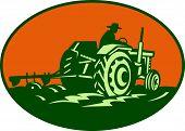 Landwirt Arbeiter treibende Bauernhof Traktor