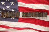 social security words on USA flag