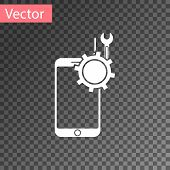 White Mobile Phone With Screwdriver And Wrench Icon Isolated On Transparent Background. Adjusting, S poster