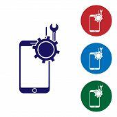 Blue Mobile Phone With Screwdriver And Wrench Icon Isolated On White Background. Adjusting, Service, poster