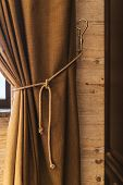 Holder For Room Curtains. Fragment Photo Curtain, Interior Detail, Curtain Detail Close Up, poster