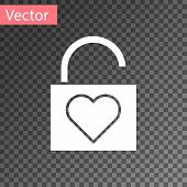 White Lock And Heart Icon Isolated On Transparent Background. Locked Heart. Love Symbol And Keyhole  poster