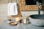 Natural Bathroom Accessories: Bamboo Toothbrush, Make Up Remover In A Glass Container, Coconut Wax C poster