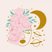 Vector Illustration With Beautiful Woman, Pink Peony Composition And Golden Celestial Elements poster
