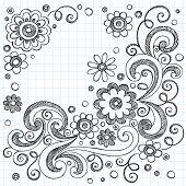 Hand-Drawn FLowers Back to School Sketchy Notebook Doodles- Vector Illustration Design Elements on Lined Sketchbook Paper Background