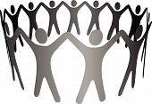 Group Symbol People Hold Hands Arms Up In Circle Ring Chain.Eps