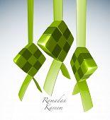 Vector 3D Muslim Ketupat Translation: Ramadan Kareen - May Generosity Bless You During The Holy Month