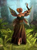 Fairy Queen Belle 3d Illustration - A Forest Fairy Tries To Figure Out How To Free A Unicorn Stallio poster
