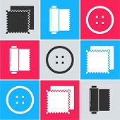 Set Textile Fabric Roll, Textile Fabric Roll And Sewing Button For Clothes Icon. Vector poster