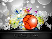 Illustration of Basketball on creative colorful grungy grey background with text space for your mess