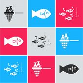 Set Fishing Net With Fish, Fish And Fishing Hook Under Water With Fish Icon. Vector poster