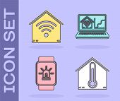 Set House Temperature, Smart Home With Wi-fi, Smart Watch With Smart House And Alarm And Laptop With poster