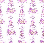 Cute Seamless Pattern With Little Cartoon Pony And Stars, Vector Texture poster