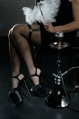 Beautiful Female Legs In High Heel Shoes In Smoke poster