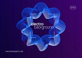 Night Music. Wavy Discotheque Brochure Design. Dynamic Fluid Shape And Line. Night Music Flyer. Elec poster