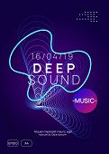 Techno Event. Dynamic Gradient Shape And Line. Abstract Discotheque Banner Layout. Neon Techno Event poster