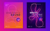 Gradient Party Flyer. Futuristic Discotheque Magazine Set. Dynamic Fluid Shape And Line. Gradient Pa poster