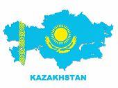 Постер, плакат: Казахстан карта с флагом изолированные на белом с обтравочный контур
