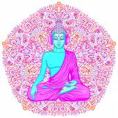 Buddha Over Colorful Neon Background. Vector Illustration. Psychedelic Mushroom Composition. Indian, poster